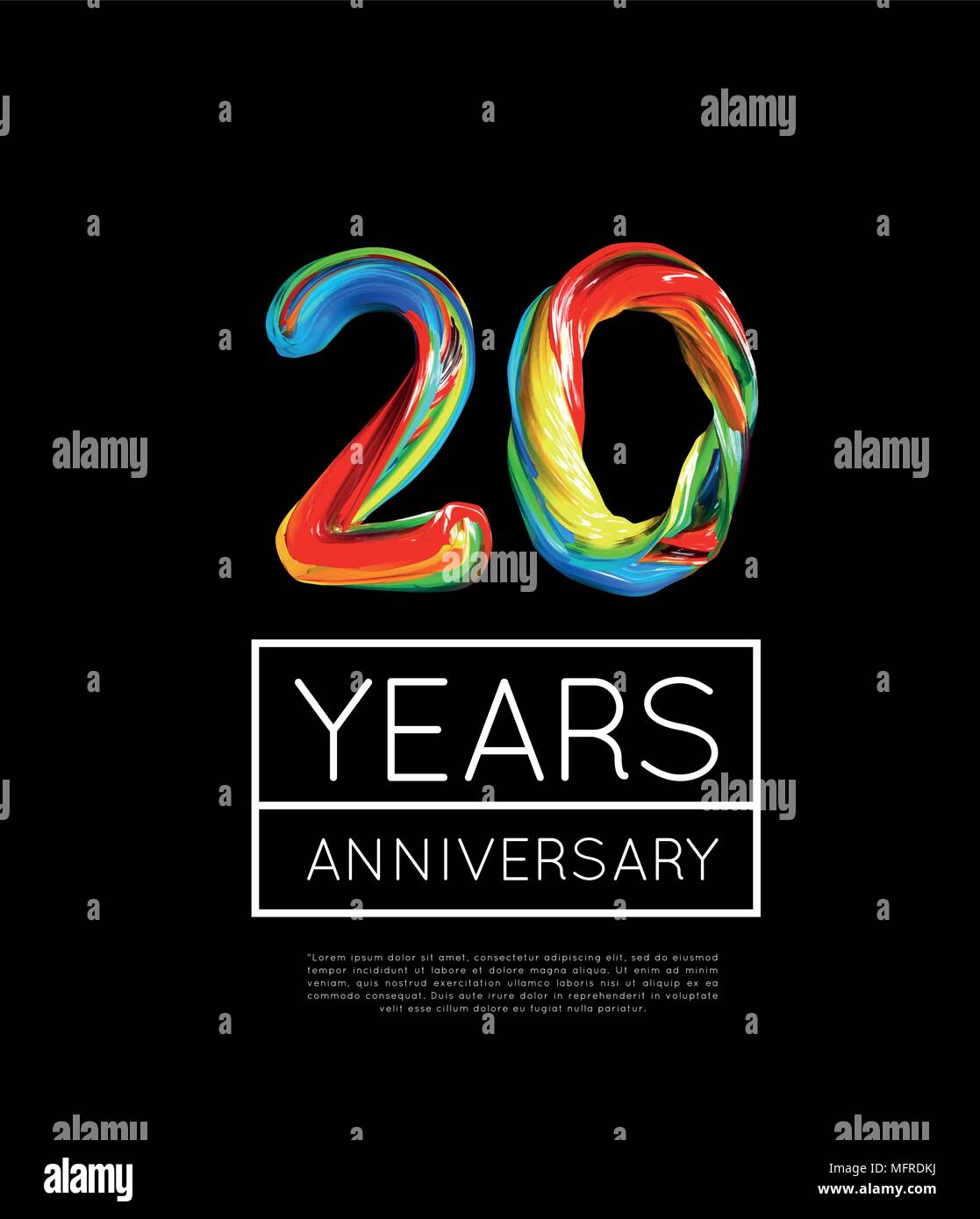 20th Anniversary, congratulation for company or person on black background - Stock Vector