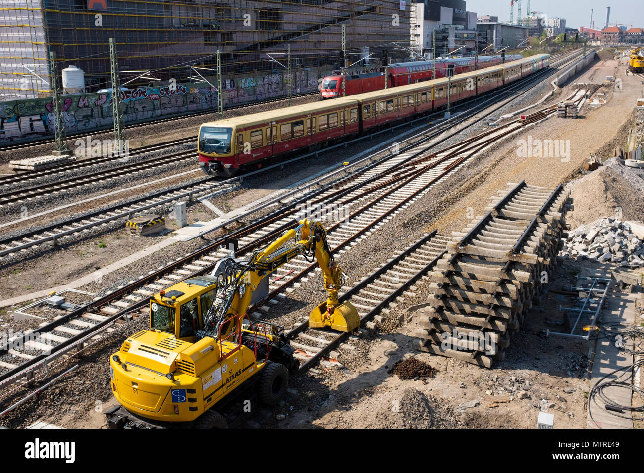 Railway track construction at Friedrichshain in central Berlin , Germany - Stock Image