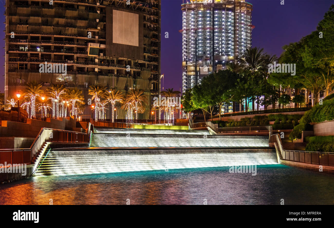 Fountain near Burj Khalifa on New Year 2016 - Stock Image
