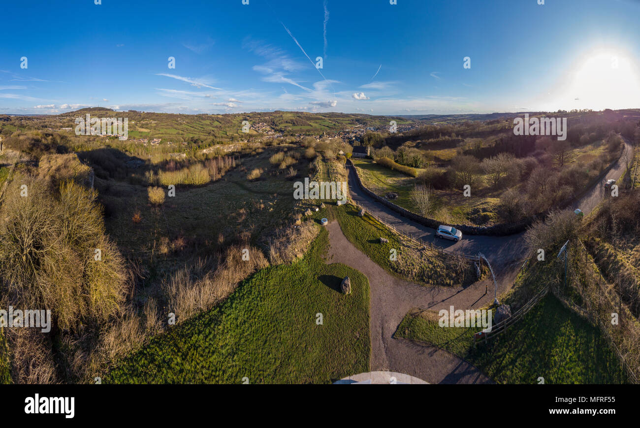 Aerial panorama of Wirksworth from The Star Disc - Stock Image