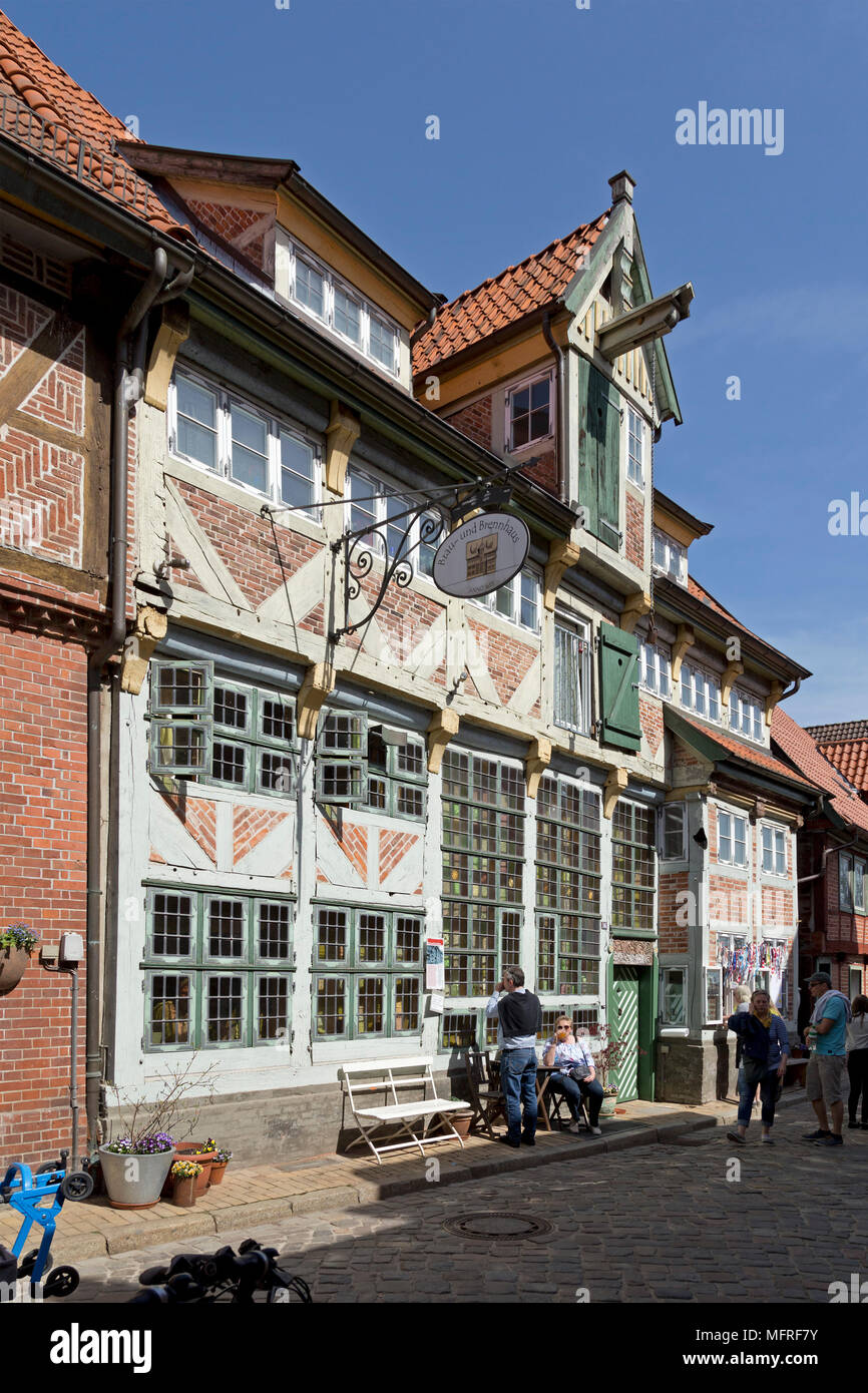 frame house, old town, Lauenburg, Schleswig-Holstein, Germany - Stock Image