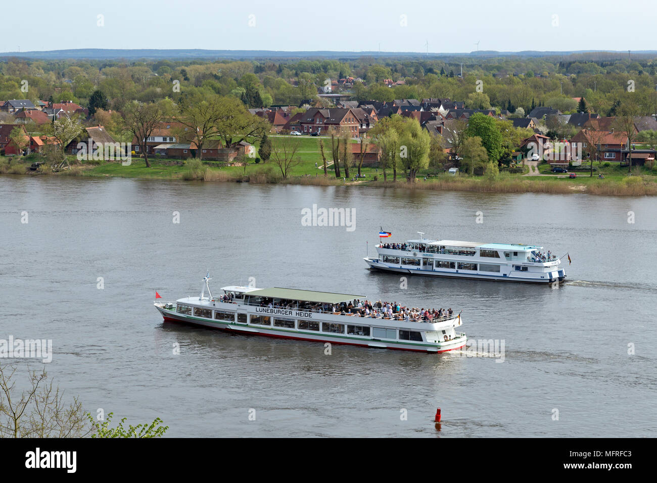 Elbe shipping festival Kurs-Elbe-Tag, Lauenburg, Schleswig-Holstein, Germany - Stock Image