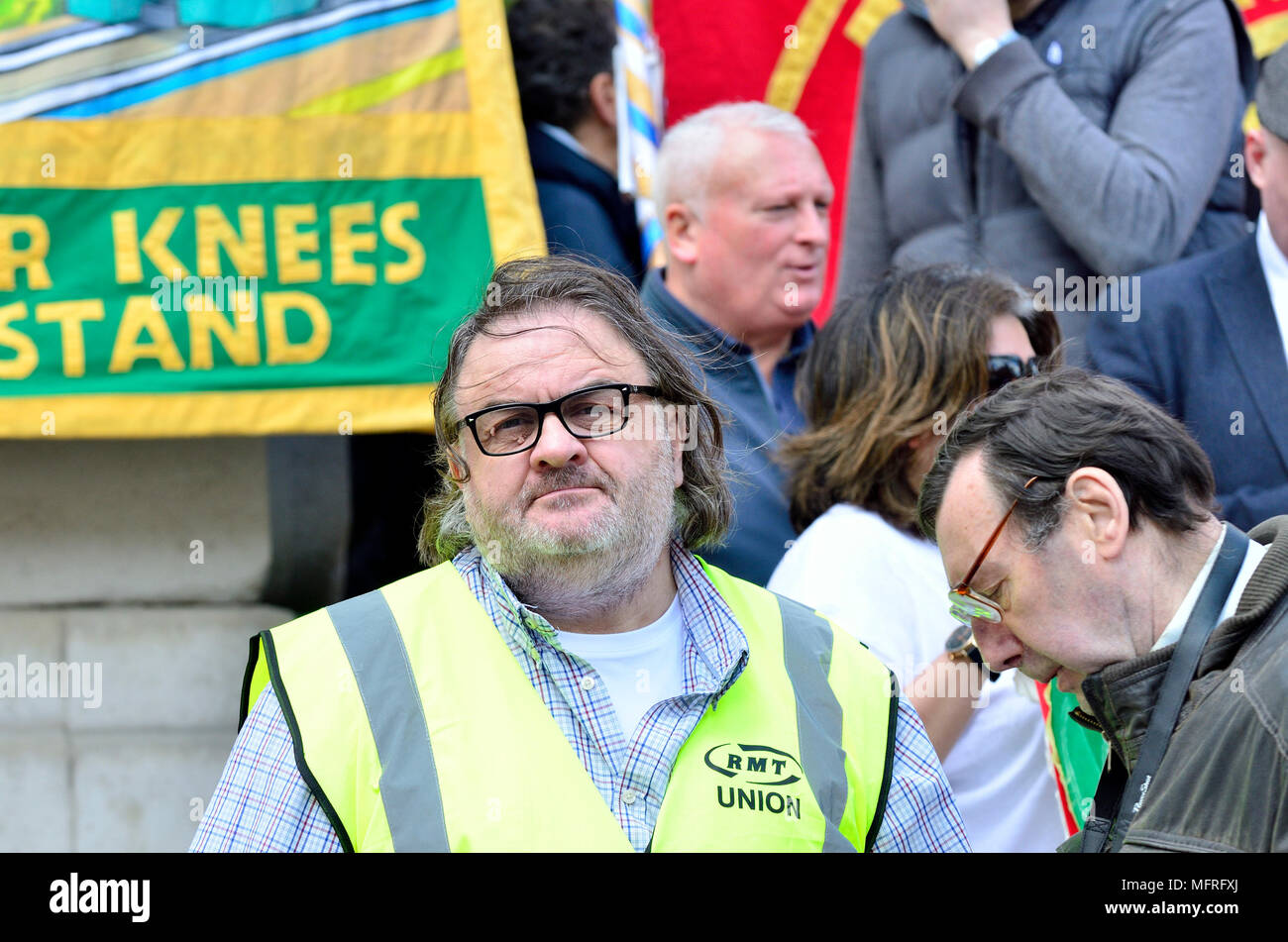 Paul Cox, RMT union South East Regional Organiser, at a protest in Westminster on the second anniversary of Britain's longest-running dispute - agains - Stock Image