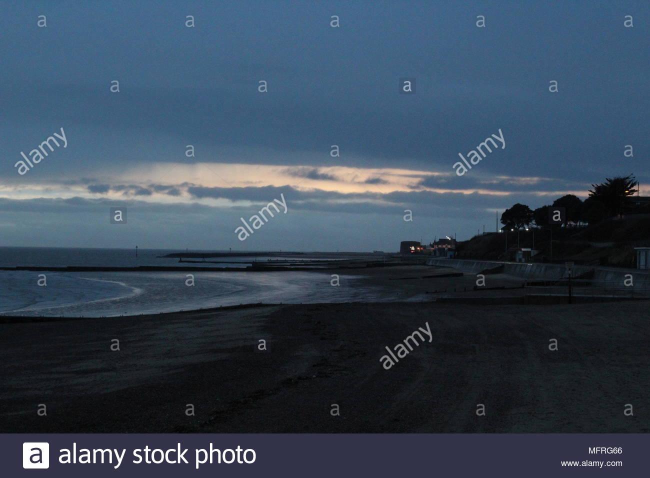 Clacton beach before dusk. Clacton, UK - Stock Image