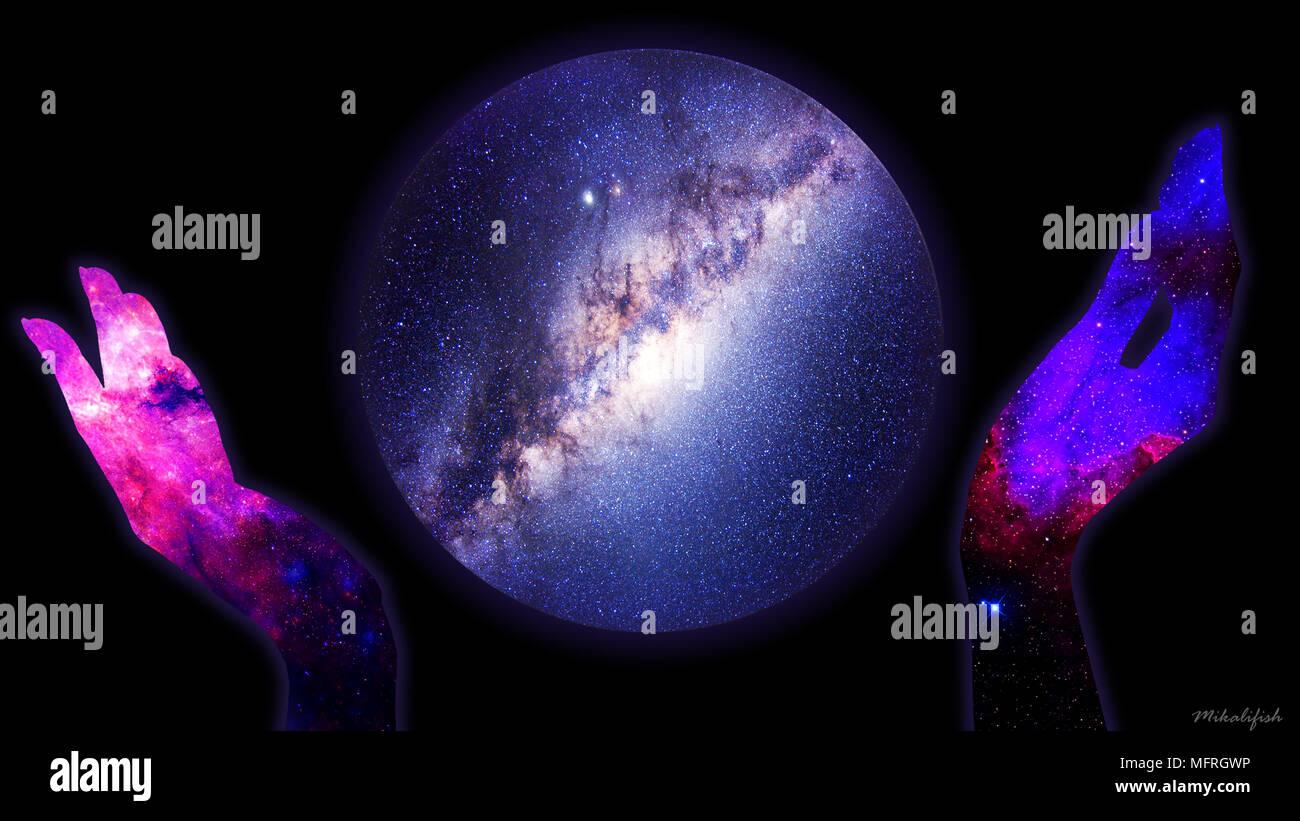 Universe photoshop art, photomanipulation. - Stock Image