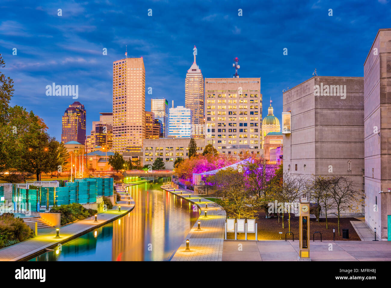 indianapolis indiana usa downtown skyline over the river walk