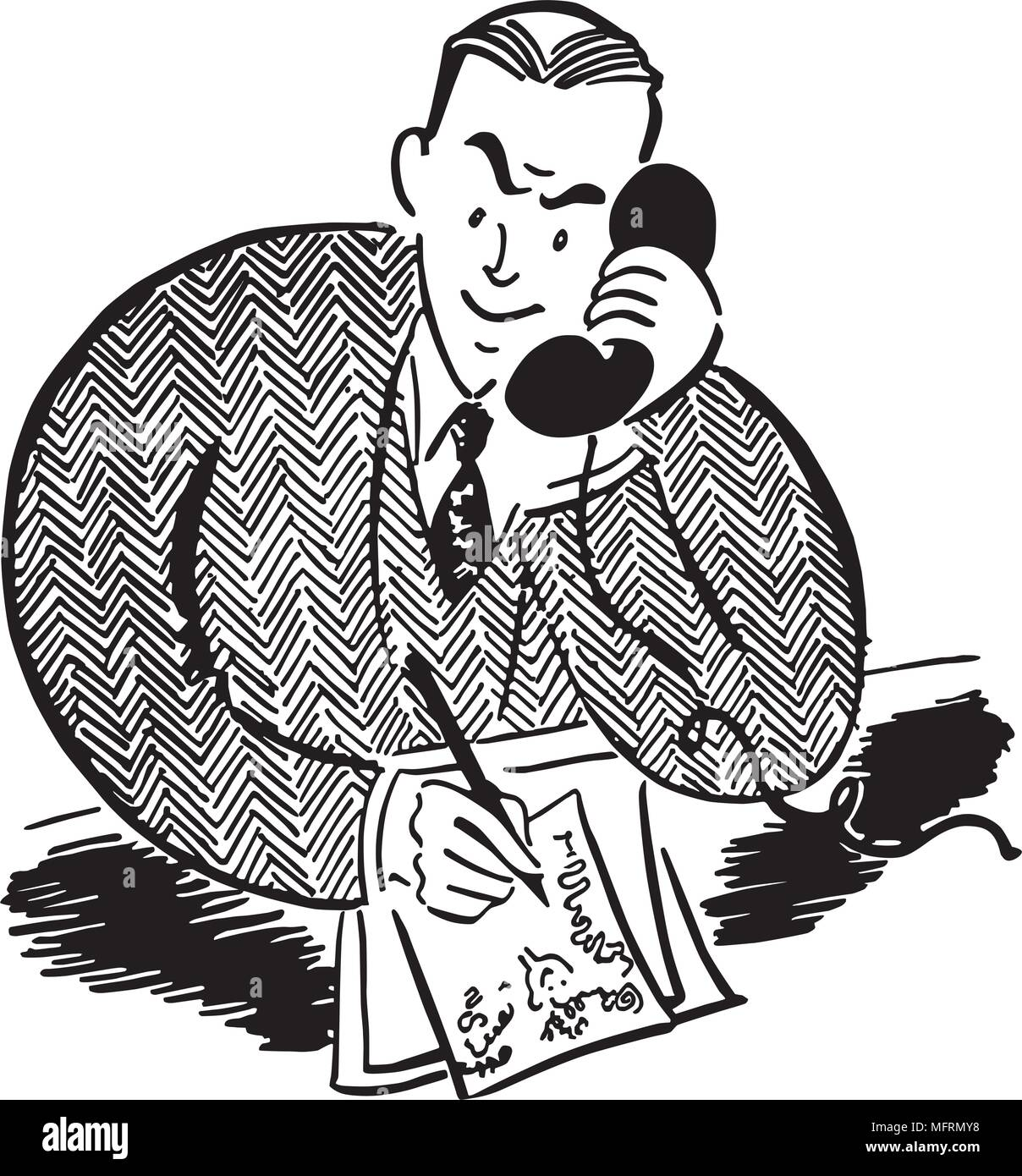 Man On The Phone 2 - Retro Clipart Illustration - Stock Image
