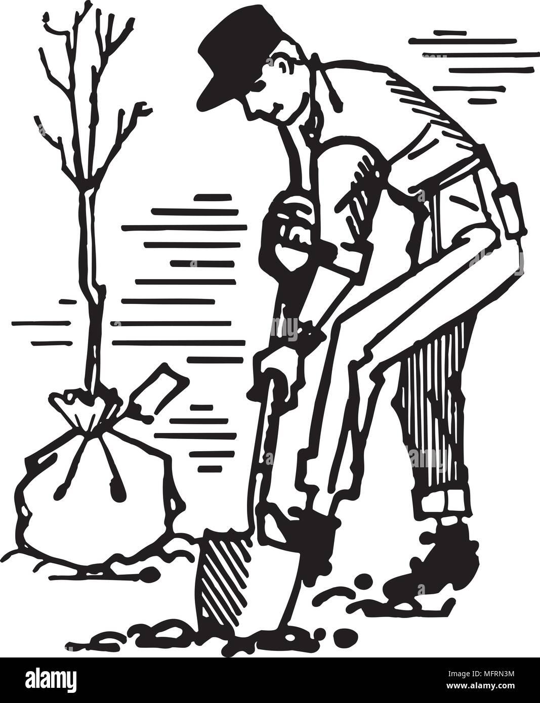 Man Planting Tree - Retro Clipart Illustration - Stock Image