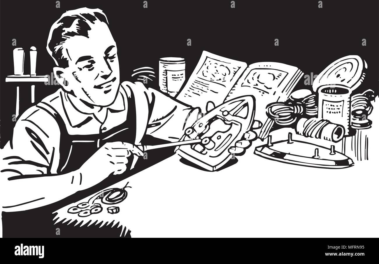 Man Repairing Appliances - Retro Clipart Illustration - Stock Image