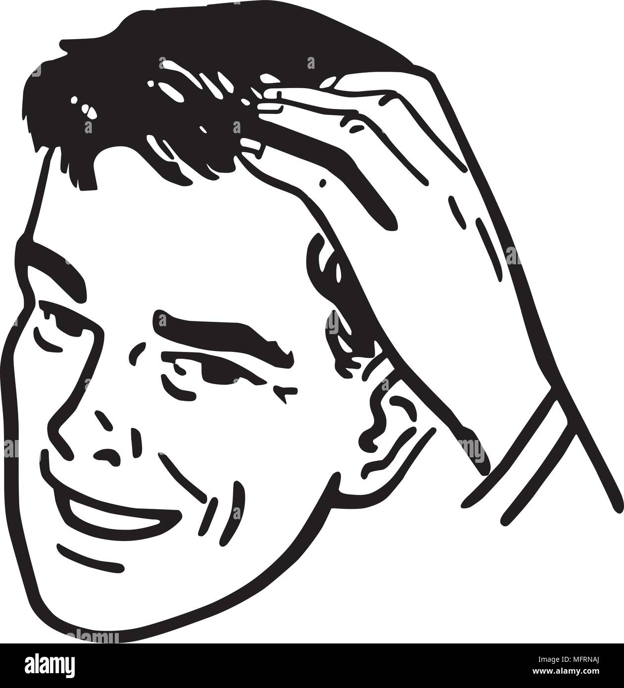 Man Scratching Head - Retro Clipart Illustration - Stock Image