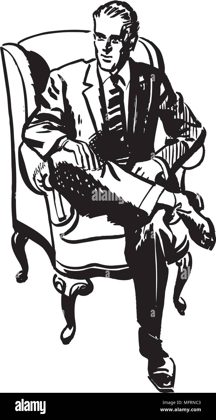 Man Sitting In Armchair - Retro Clipart Illustration - Stock Image