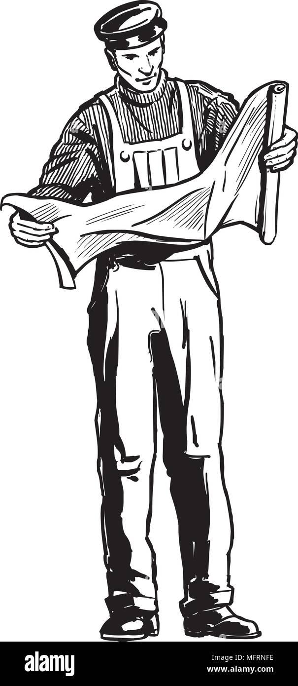 Man Studying Plans - Retro Clipart Illustration - Stock Image