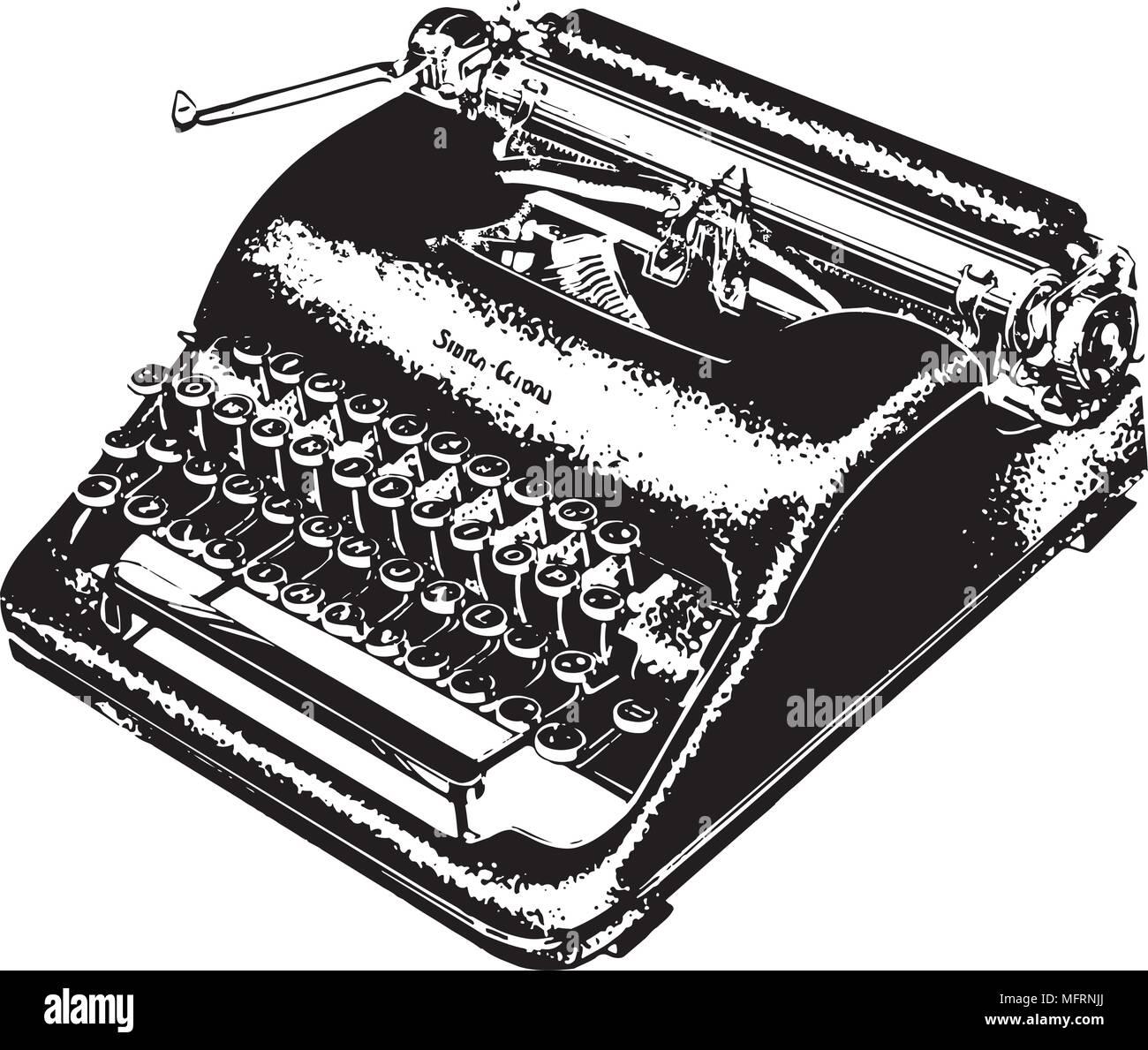 Manual Typewriter - Retro Clipart Illustration - Stock Vector