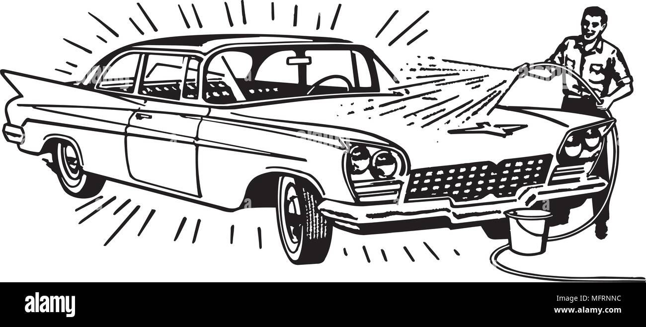 Man Washing Car - Retro Clipart Illustration - Stock Image