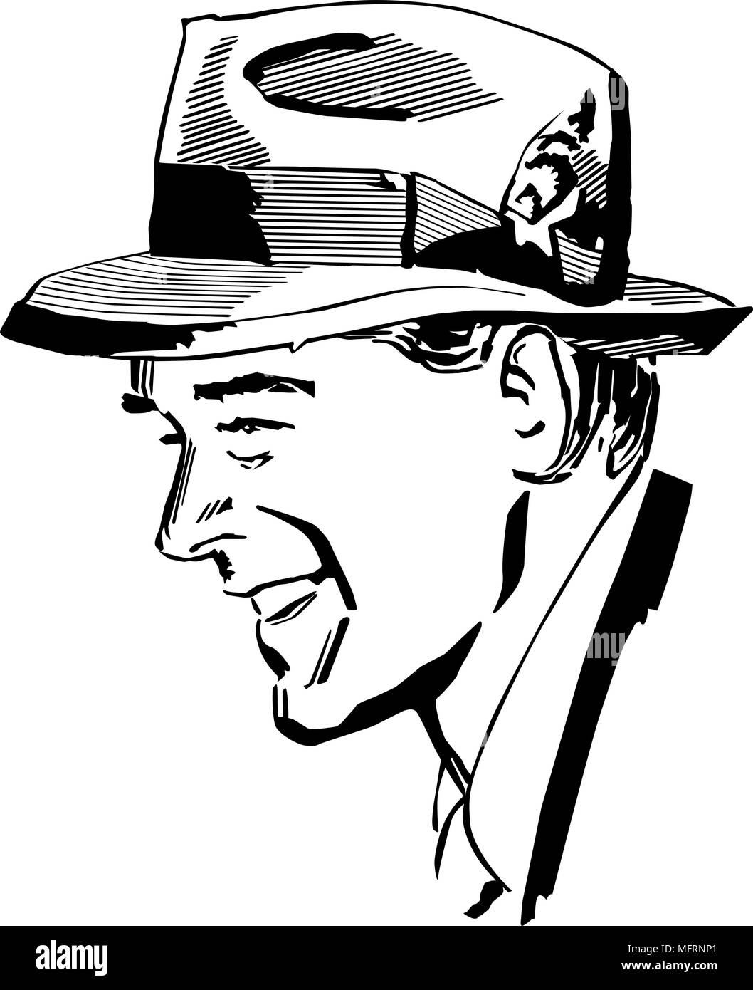 Man Wearing Fedora - Retro Clipart Illustration - Stock Image
