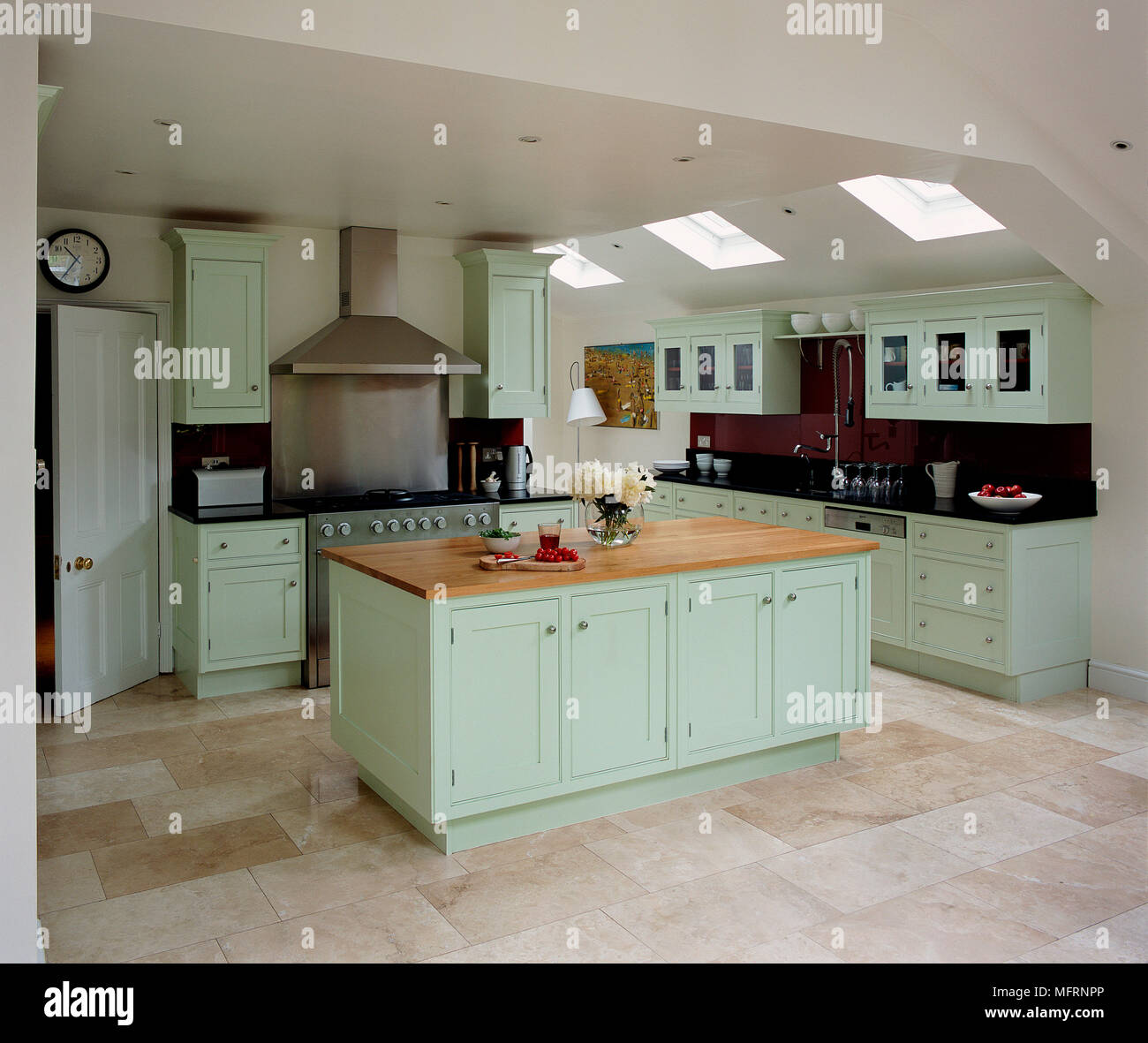 Pale Green Kitchen Units: Modern Country Style Kitchen With Pale Green Units Stock