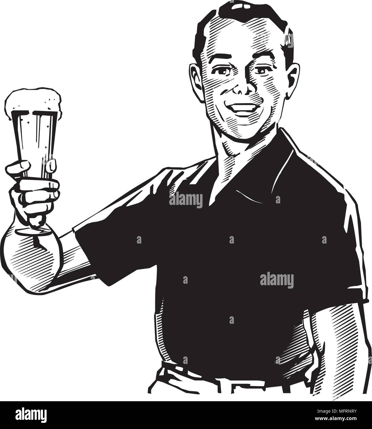 Man With Beer - Retro Clipart Illustration - Stock Image