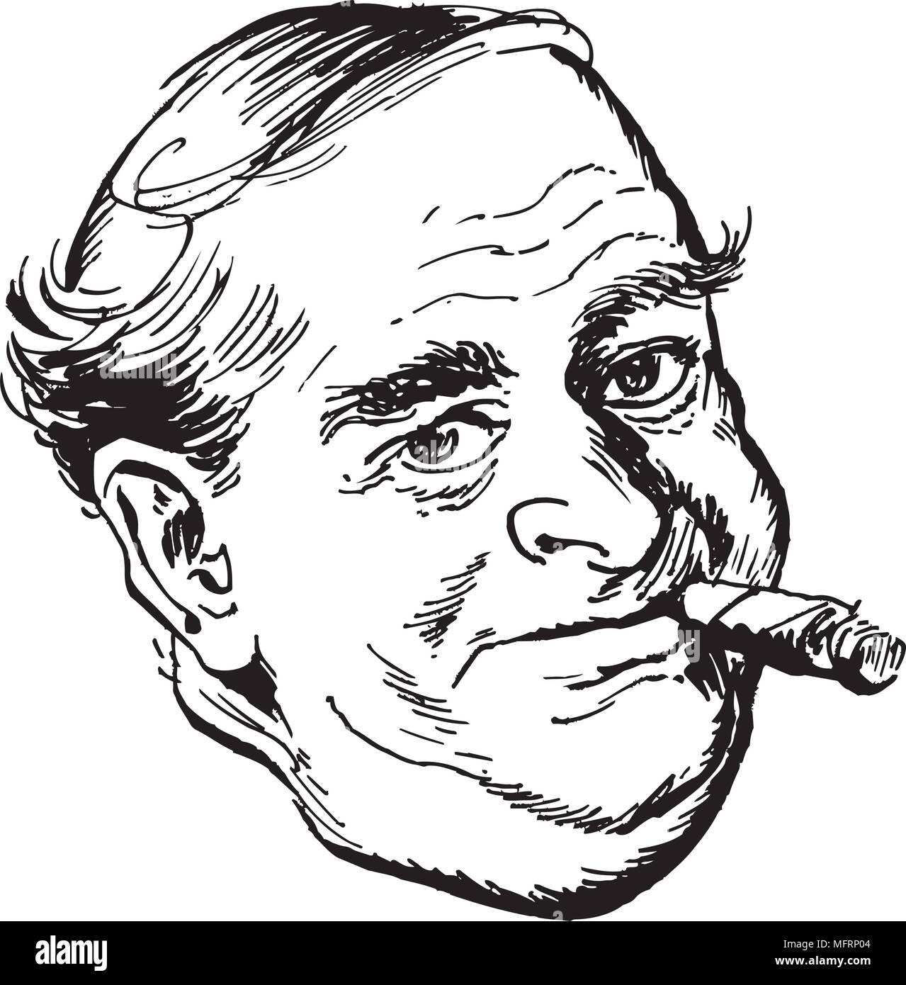 Man With Cigar - Retro Clipart Illustration - Stock Vector