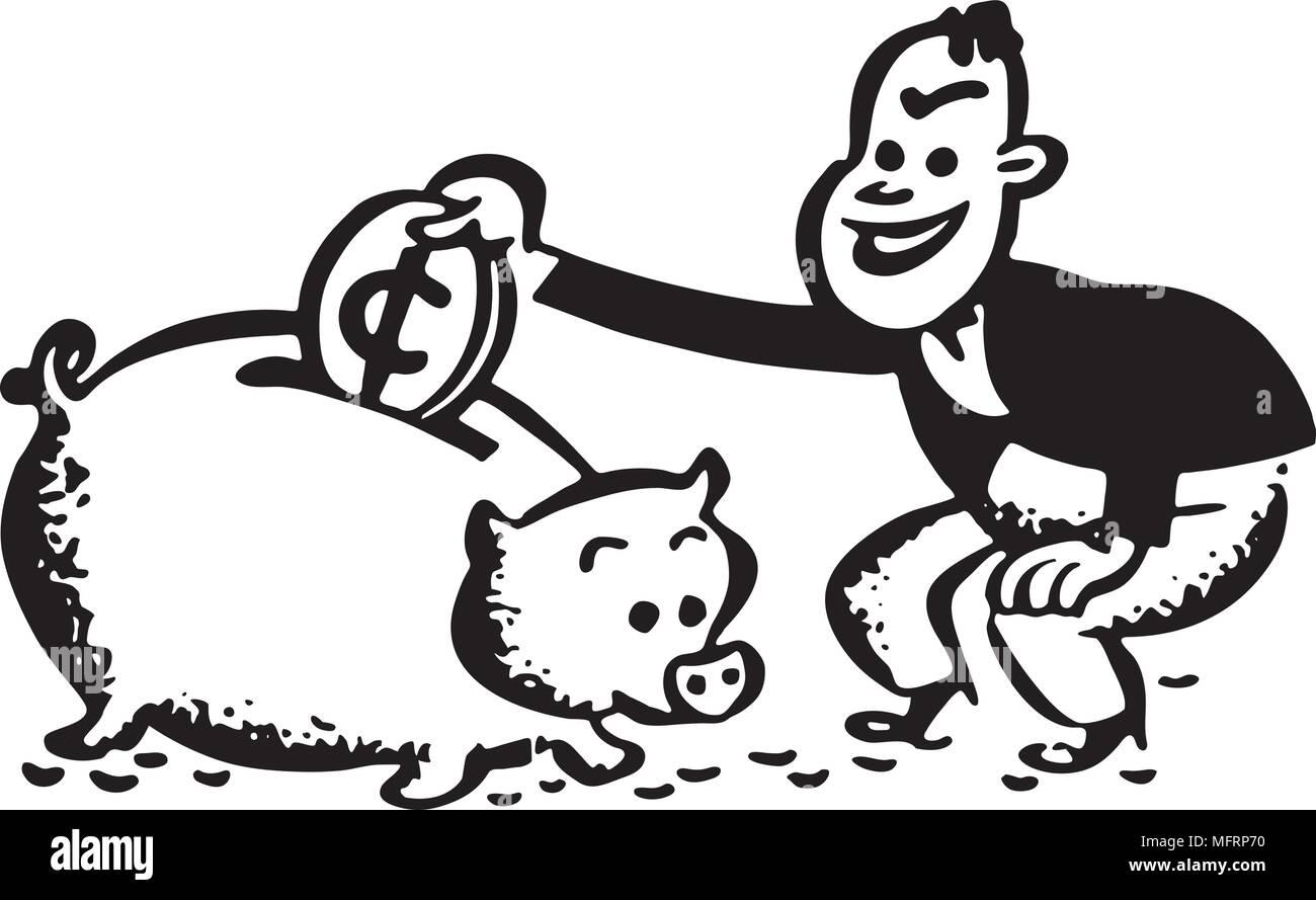 Man With Piggy Bank - Retro Clipart Illustration - Stock Image