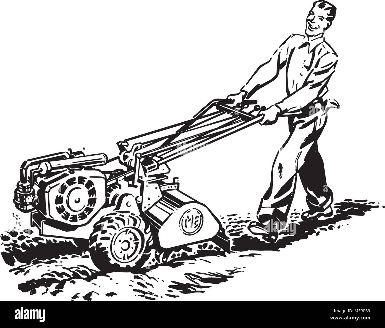 Man With Roto Tiller - Retro Clipart Illustration - Stock Image