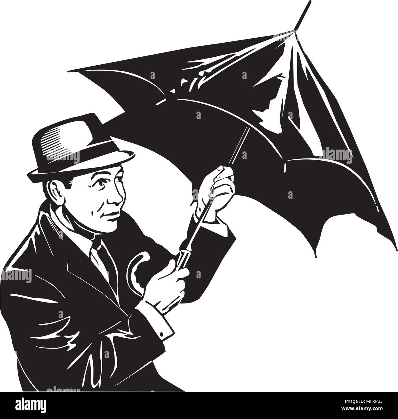 Man With Umbrella - Retro Clipart Illustration - Stock Image
