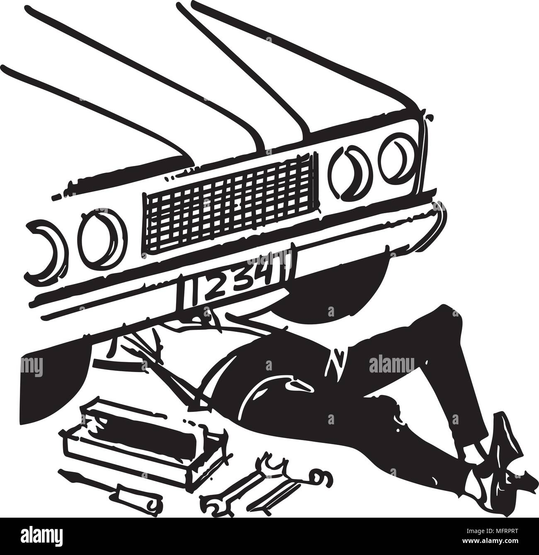 Mechanic Under Car - Retro Clipart Illustration - Stock Vector