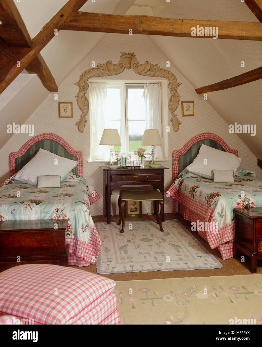 Country Style Bedroom With Slanted Ceiling And Twin Beds Stock Photo Alamy