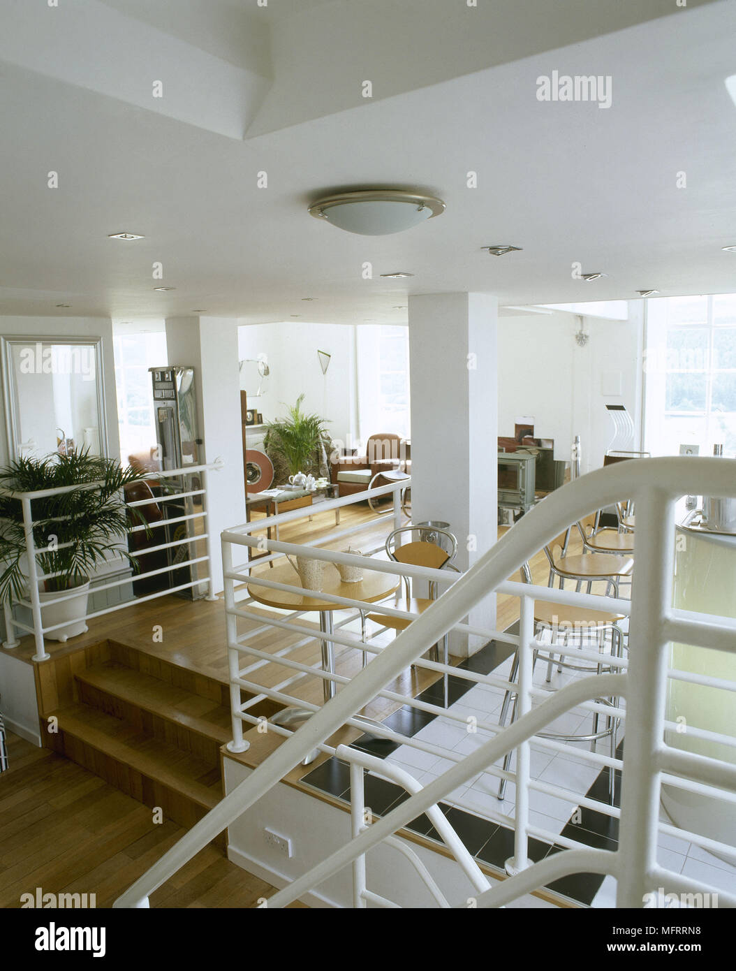 A Modern Open Plan Room With Split Level Wood Floor Stairs Separate Sitting  And Dining Areas High Ceilings