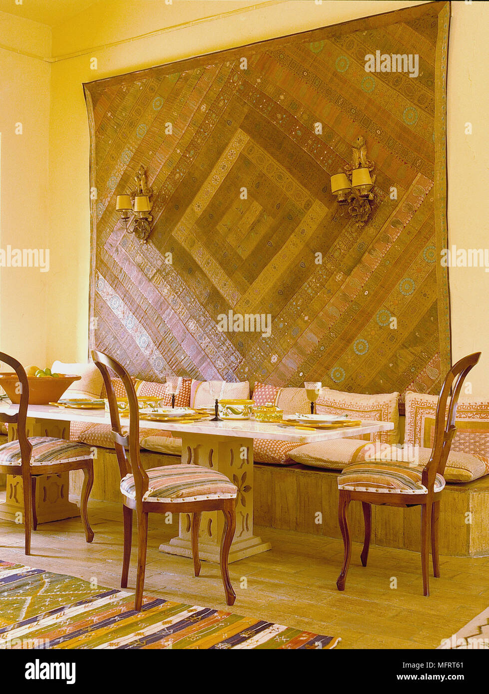 Strange Geometric Wall Hanging Above Dining Table With Bench Seating Cjindustries Chair Design For Home Cjindustriesco