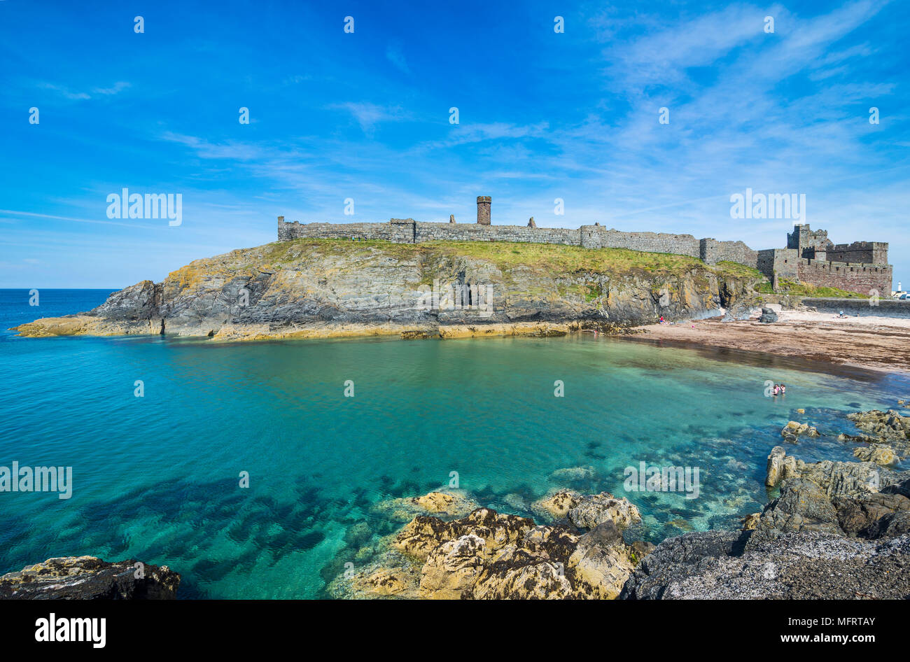 Peel castle, Peel, Isle of Man, crown dependency of the United Kingdom - Stock Image