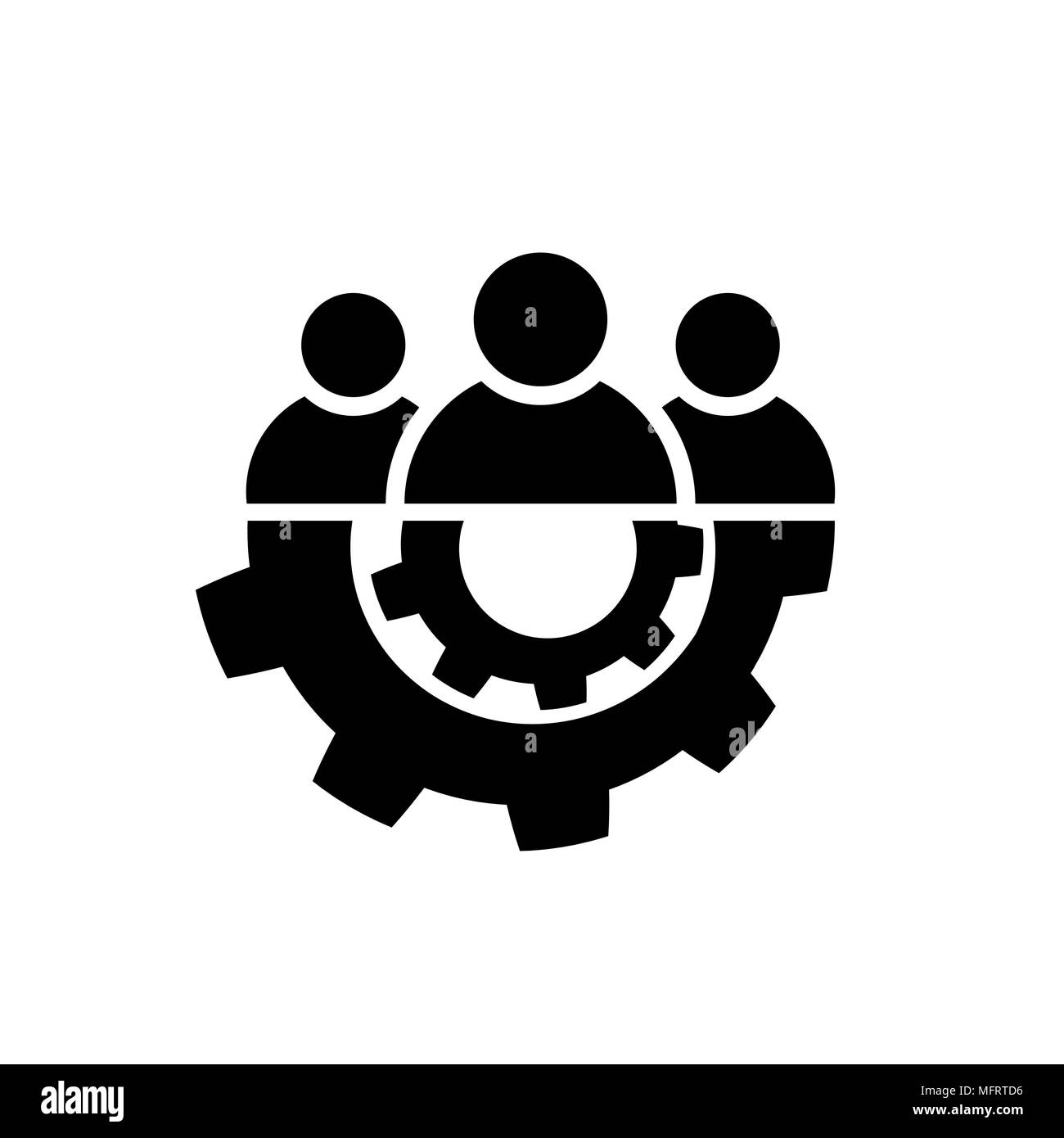 Teamwork icon in flat style. Team and gear symbol - Stock Vector