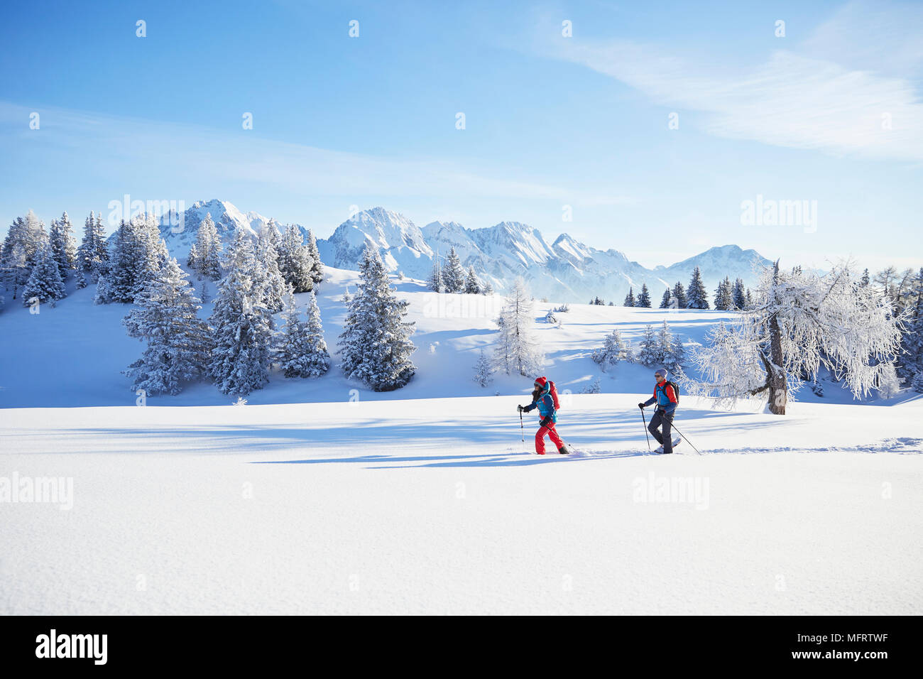 Snowshoeing, hiking in winter landscape, Simmering Alm, Obsteig, Mieming, Tyrol, Austria - Stock Image