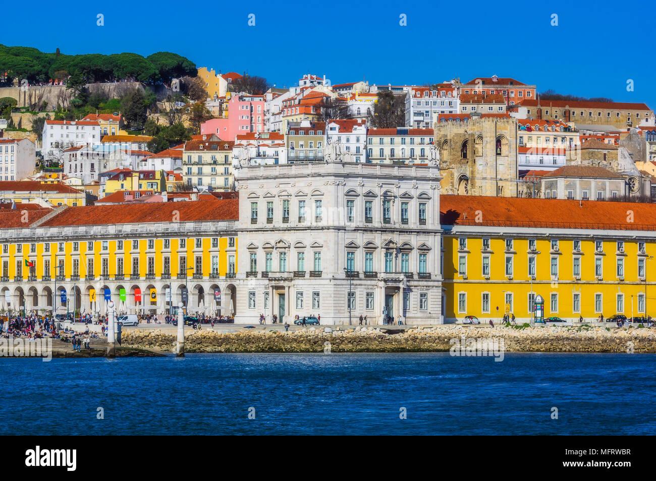 View of the trading centre, Praça do Comércio, Alfama, Lisbon, Portugal Stock Photo