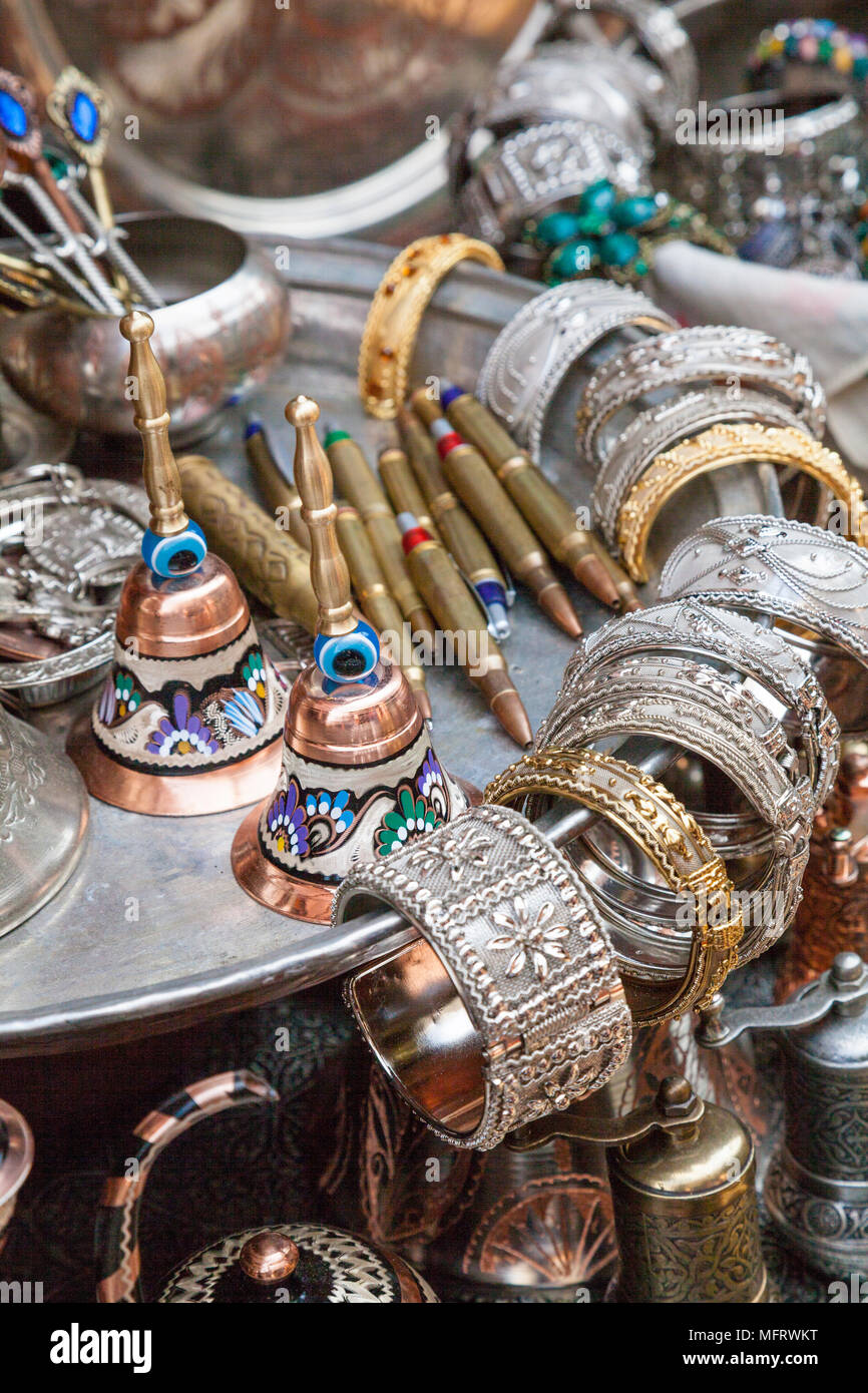 Close up of a metal souvenir stall in Sarajevo, Bosnia and Herzegovina - Stock Image