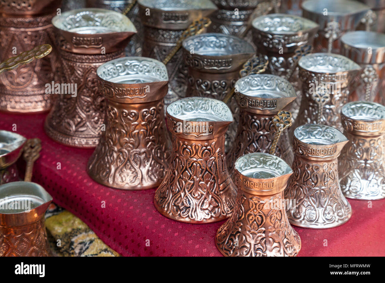 Close up of copper coffee pots in Sarajevo, Bosnia and Herzegovina - Stock Image