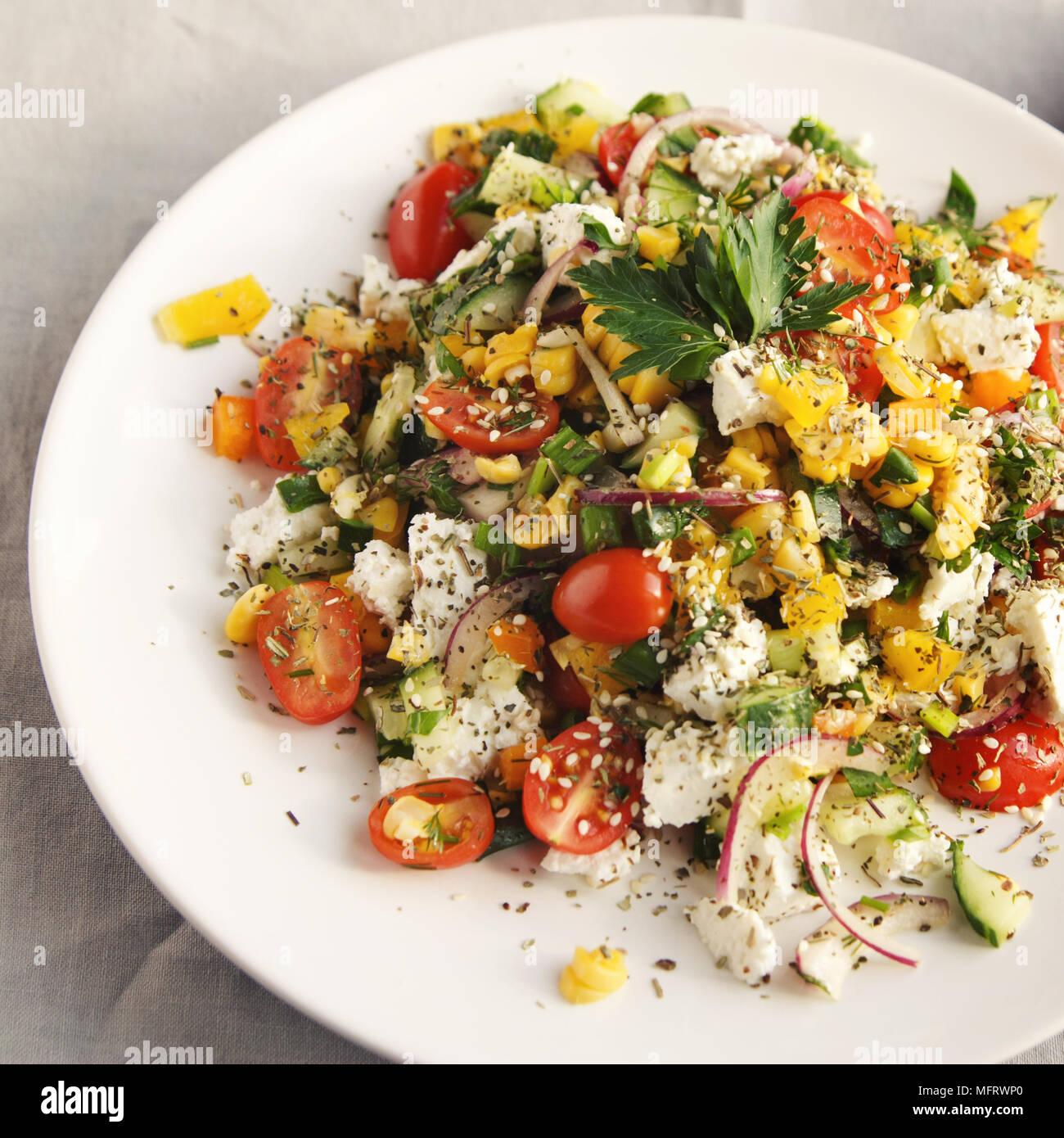 Strange Colorful Vegetable Mix Simple Low Calories Salad Cherry Interior Design Ideas Clesiryabchikinfo