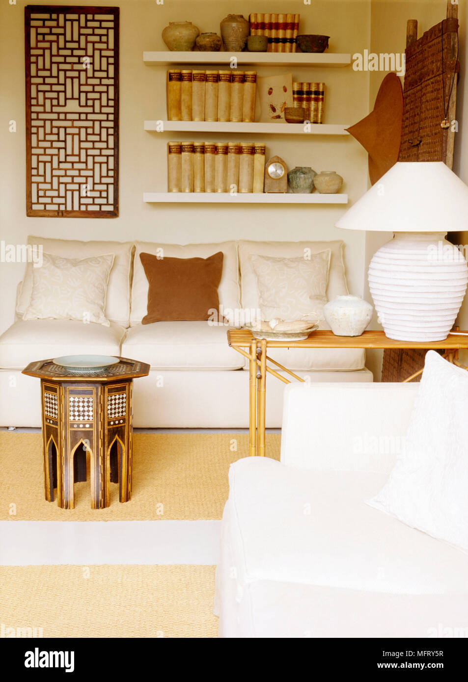 A Detail Of A Modern Country Style Neutral Sitting Room With An