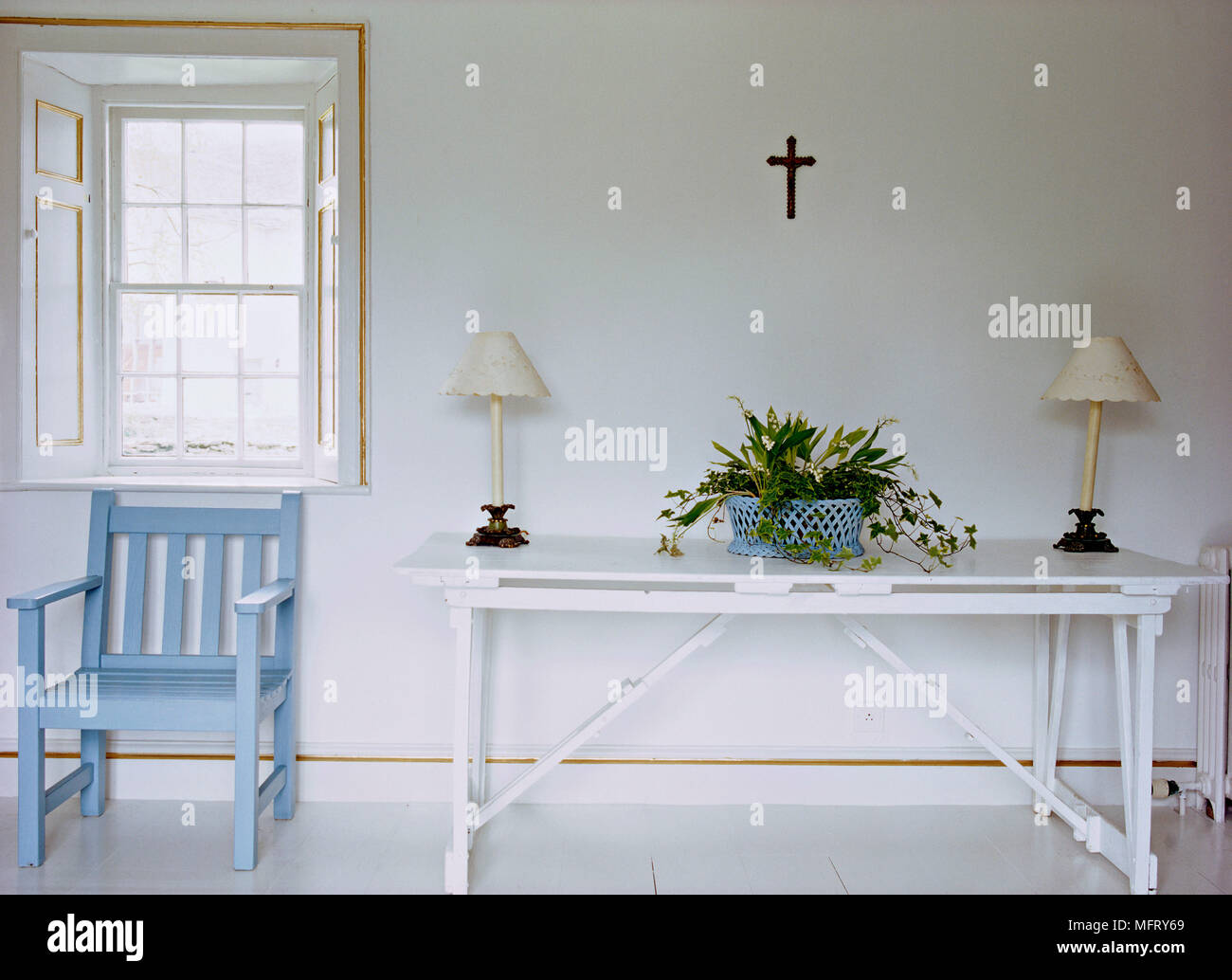 a detail of a modern neutral sitting room with blue painted wood rh alamy com