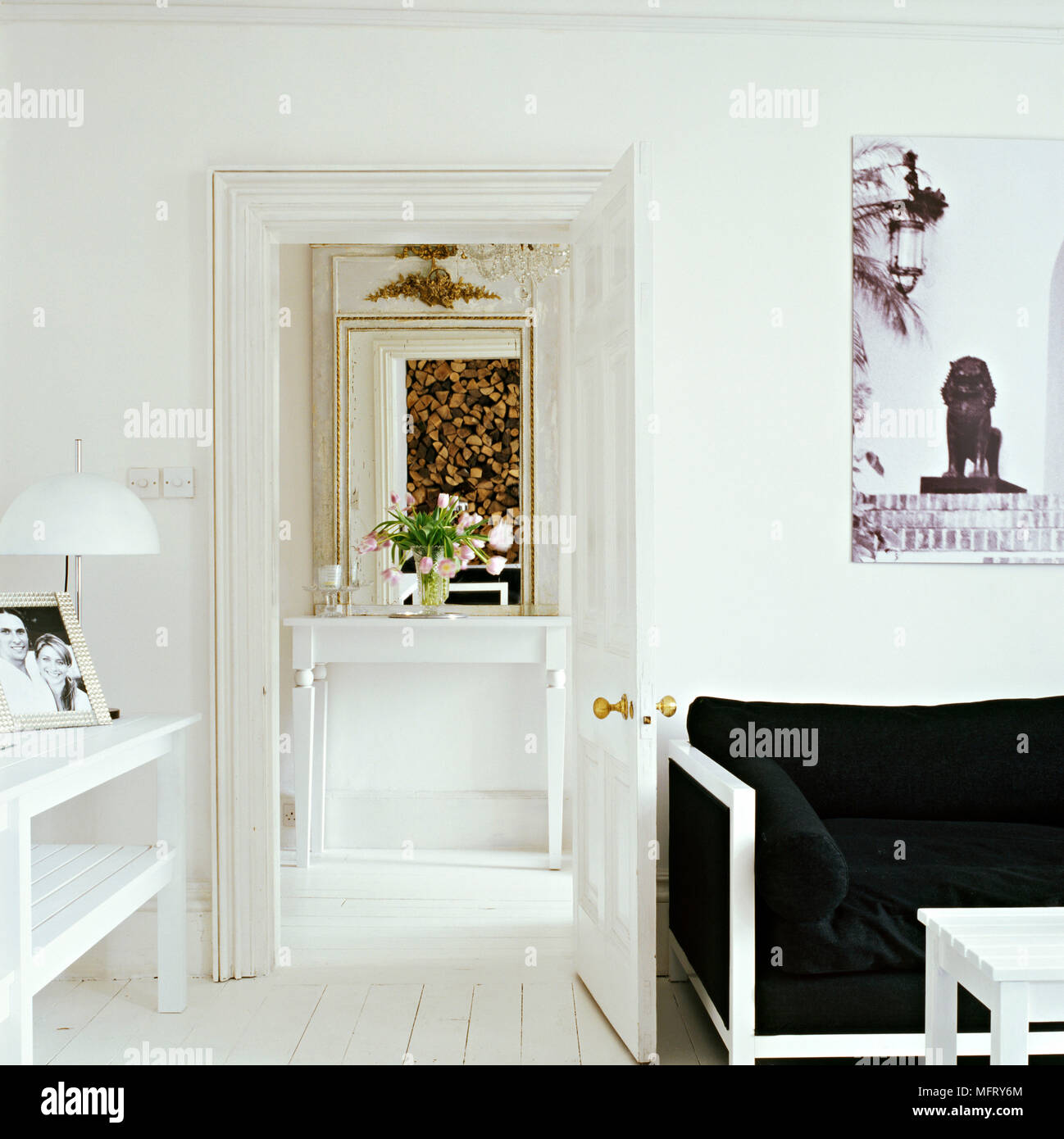 a detail of a modern white sitting room painted white wood sofa with rh alamy com