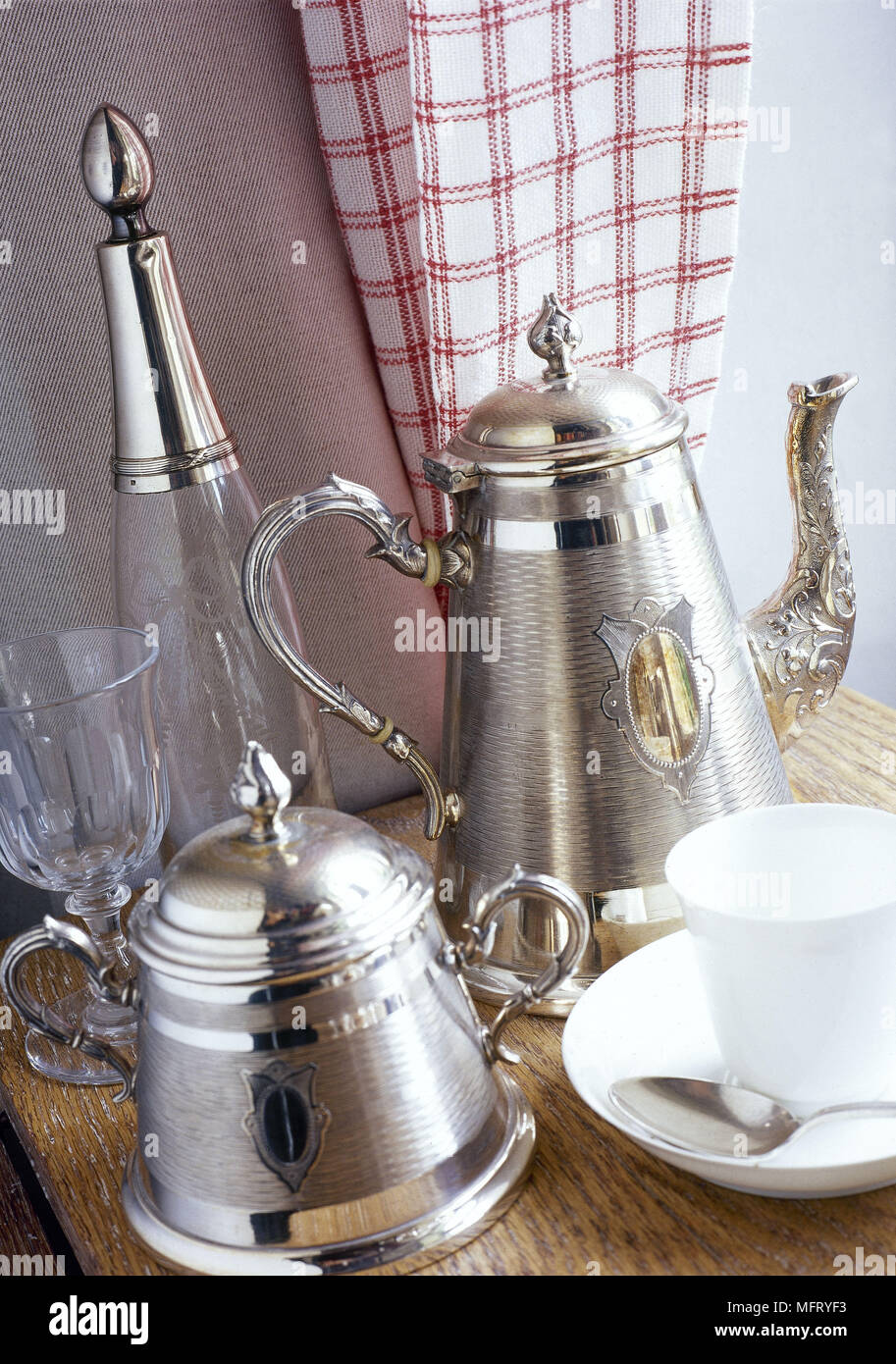 Antique Silver Coffee Pot Sugar Dish Crystal Glass And Decanter Interiors Detail Silverware
