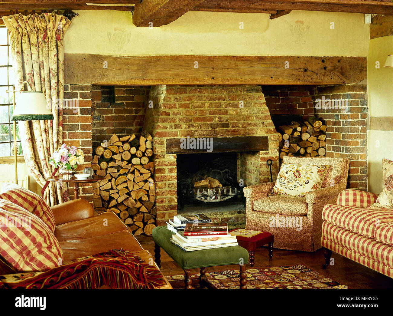 Country Cottage Sitting Room Inglenook Fireplace Sofa Upholstered