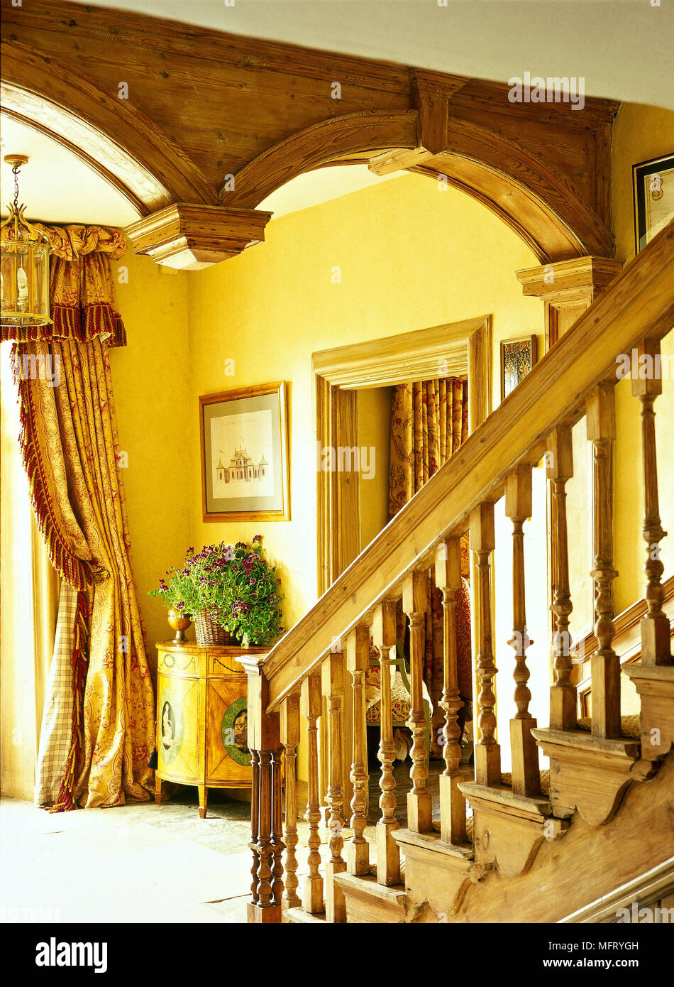 Country Hallway Wood Staircase Mouldings Interiors Halls Hallways Stairs  Period Features