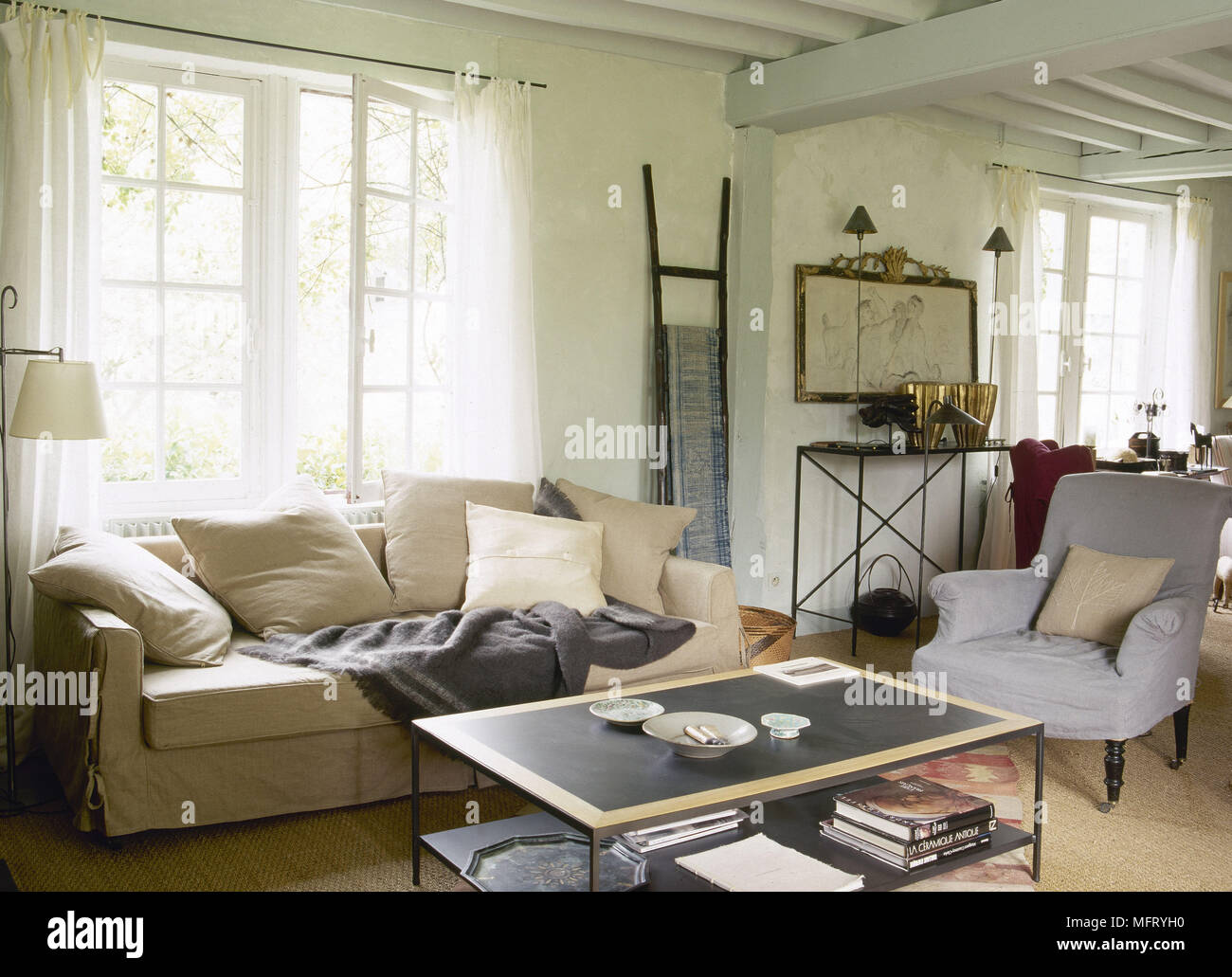 Country Sitting Room Beamed Ceiling Neutral Sofa Modern Coffee Table  Interiors Rooms Natural Materials Colours Period Furniture Features