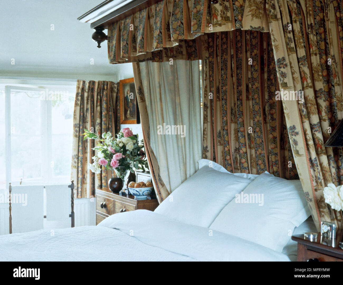 Pelmet and curtains of double bed canopy Stock Photo ...