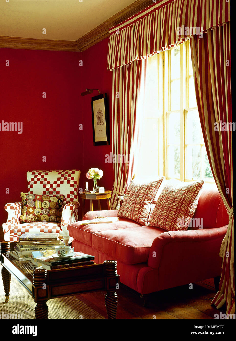 Traditional red sitting room sofa striped curtains pelmet ...