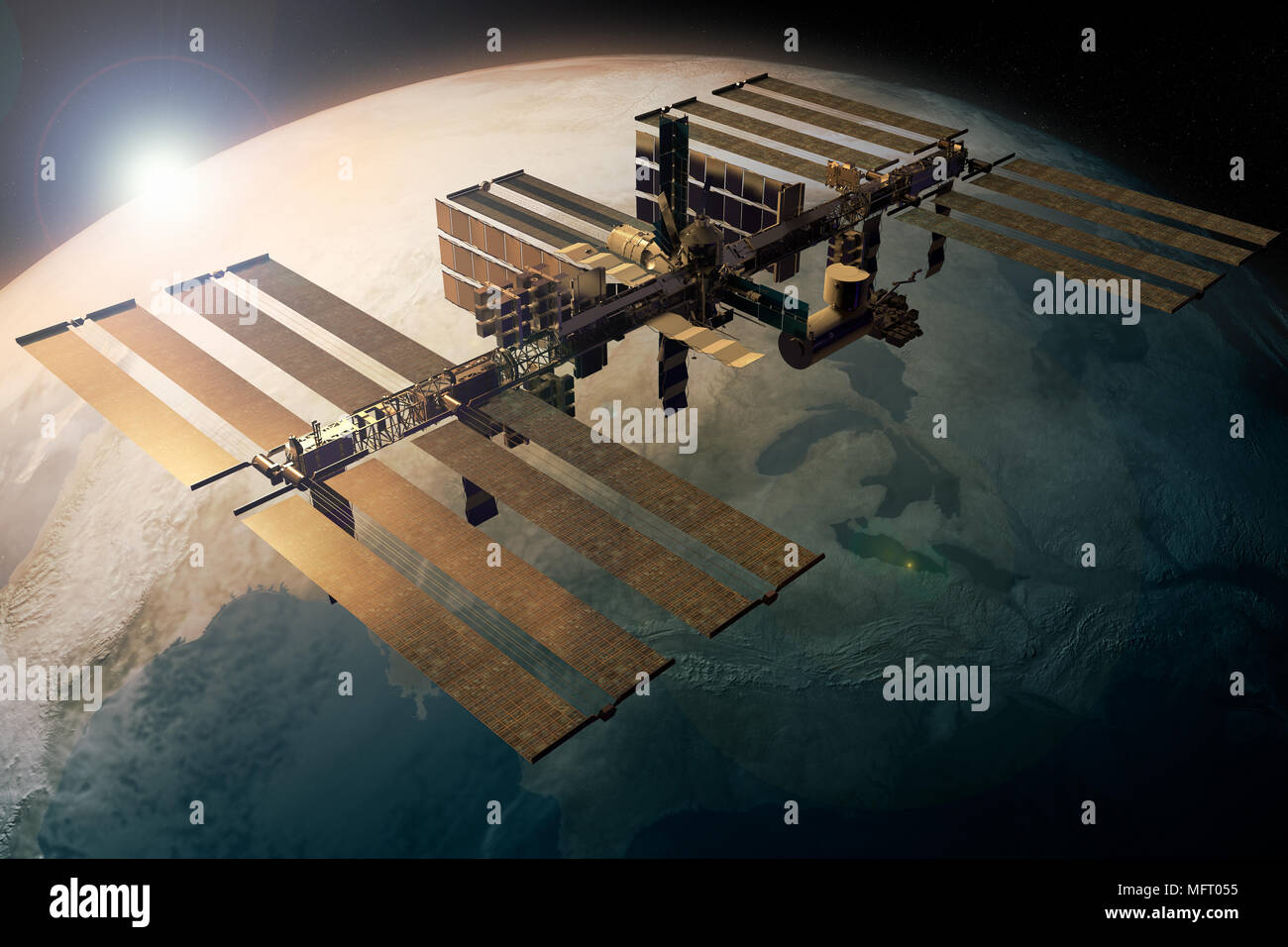 3D rendering of the International Space station orbiting the Earth - Stock Image