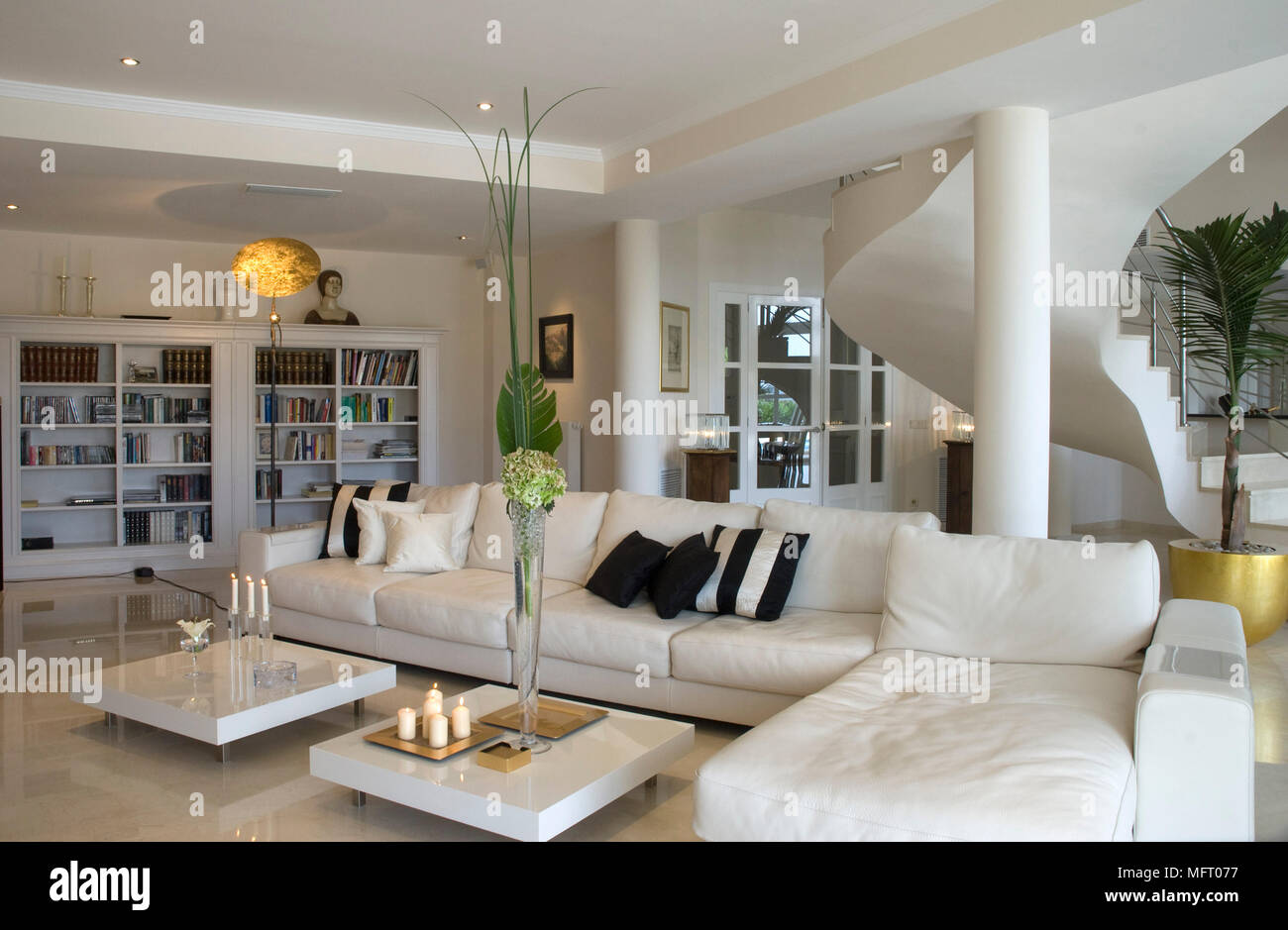 Low Coffee Tables In Front Of L Shaped Sofa In Modern Sitting Room Stock Photo Alamy