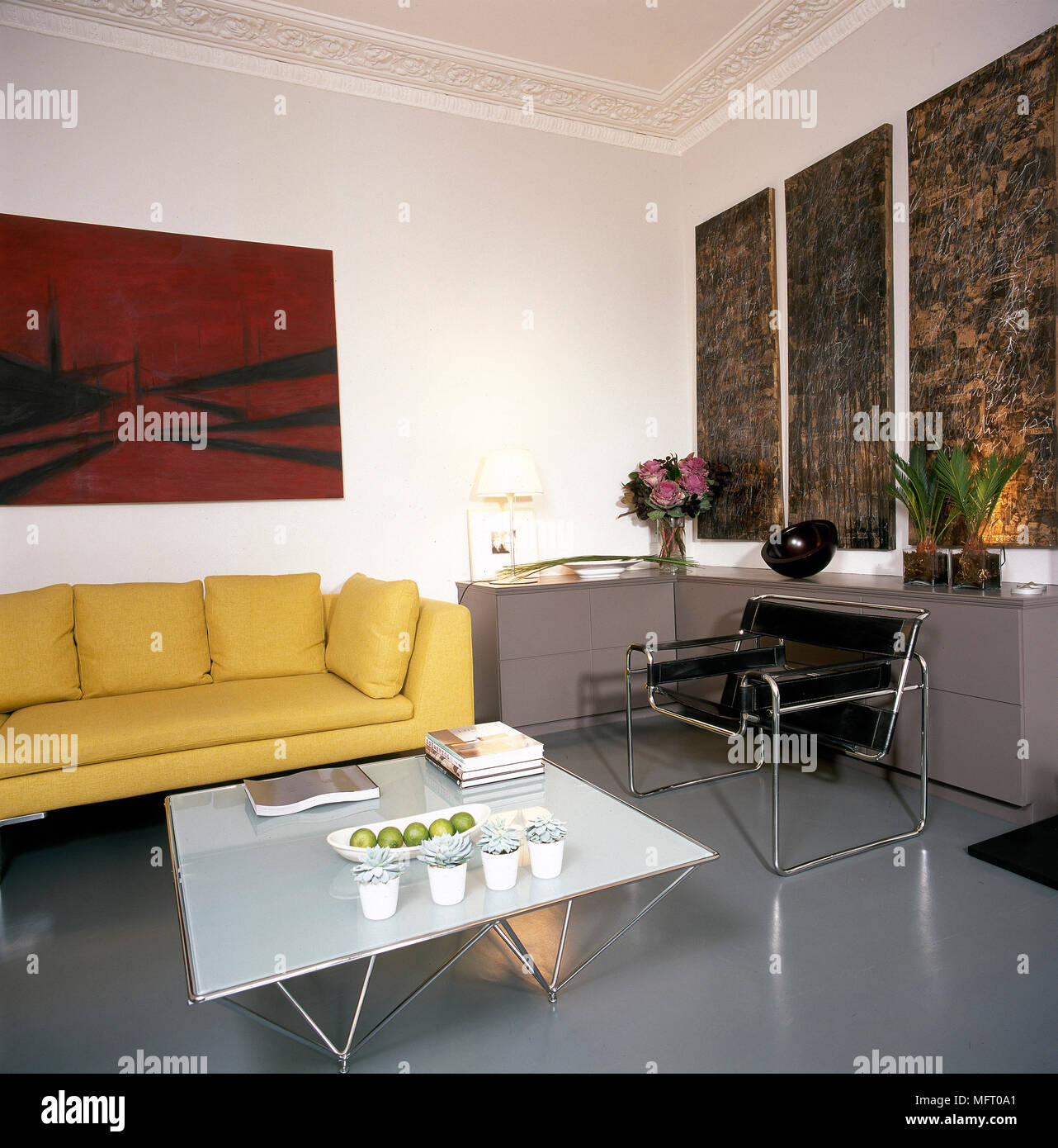 Modern Sitting Room With Wassily Chair By Marcel Breuer And Yellow Sofa