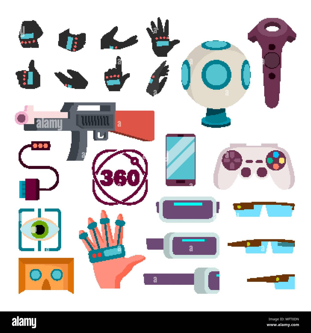 cefa3579549c Virtual Reality Icons Set Vector. Virtual Reality VR Accessories. Weapon