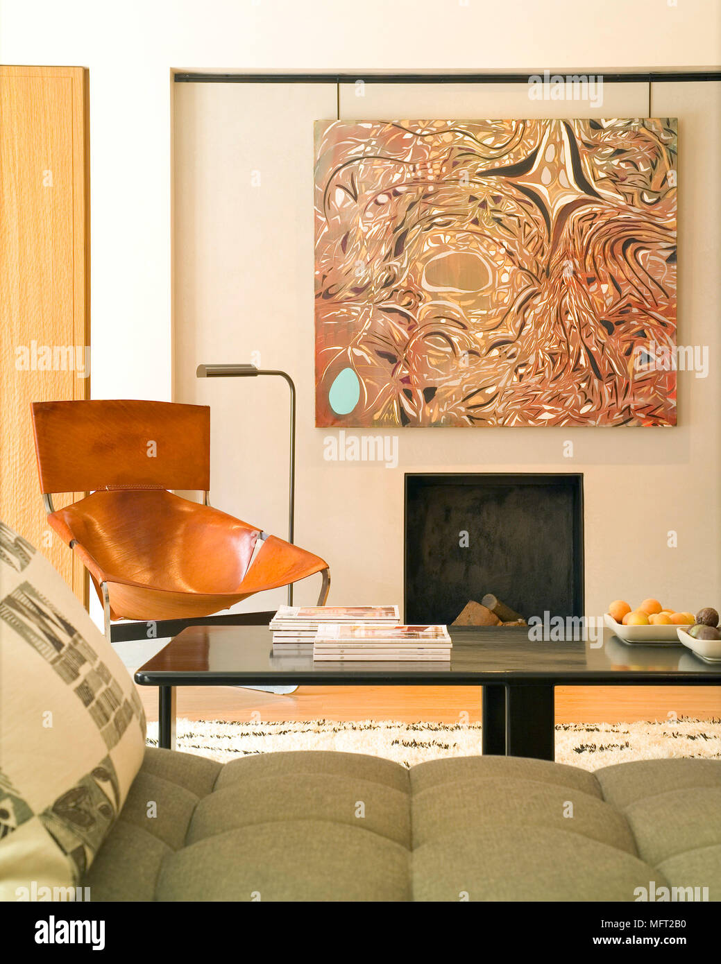 details of a modern sitting room with an abstract painting above an rh alamy com Plywood Bench Plywood Bench